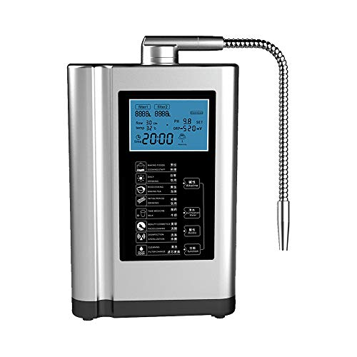 Wasserionisierer, Heim-Alkali-Wasserfiltrationssystem, PH 3,5 bis 10,5-Alkali-Wasser-Maschine, 6000 Liter pro Filter, bis zu -500 mV ORP, 7 Wassereinstellungen,Silver