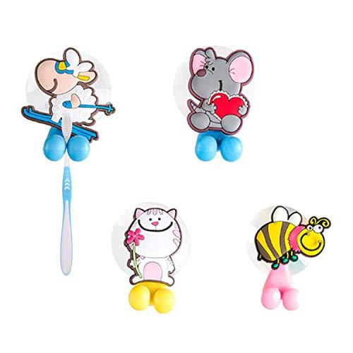 LxwSin portaspazzolino per bambini, porta spazzolini con ventosa, 4 pezzi cartone animato ventosa porta spazzolino da denti, senza trapano gancio spazzolino per bambini, antibatterico montato a parete