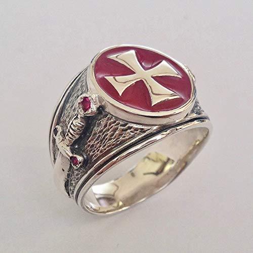 New Knights Templar Ring Sterling Silver .925 Masonic Crusaders Handmade Jewelry