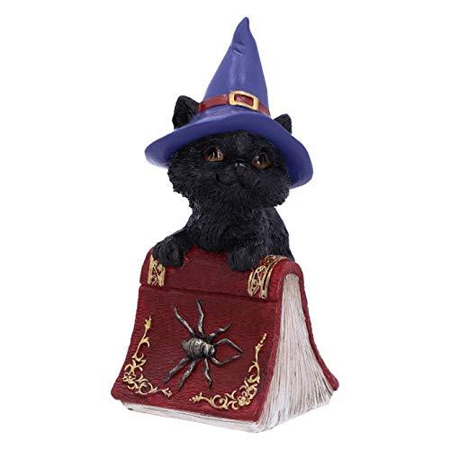 Nemesis Now Hocus-Figura de Gato Negro y Libro de hechizos, Rojo, 12.7cm