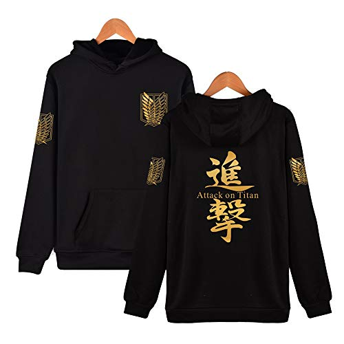 Synona Attack on Titan Sweat à Capuche Unisex Shingeki No Kyojin Scout Regiment Badge Cosplay Costume Veste Uniforme d'Anime Thème Manches Longues décontracté Tops Hoodie Sweatshirt pour Homme Femme