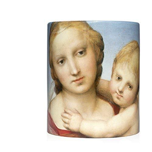 """Taza mug desayuno de cerámica blanca 32 cl. con impresión de obra de arte cuadro """"Virgen con el Niño"""" autor Rafael"""