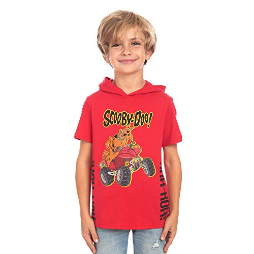 Scooby Doo Boys Short Sleeve Pullover Hoodie T-Shirt for Kids (XX-Large) Red