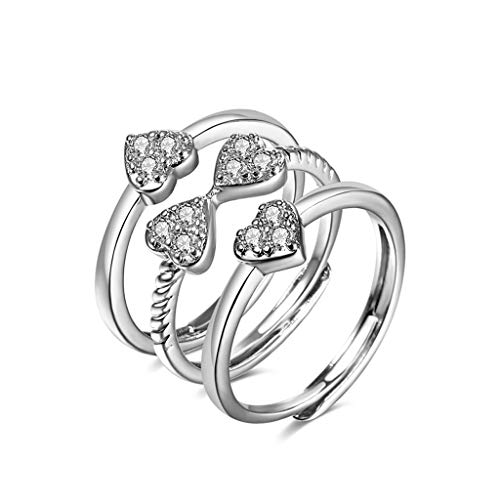 HELYZQ Anel feminino coração coração de quatro folhas trevo da sorte strass 3 em 1 joia da sorte