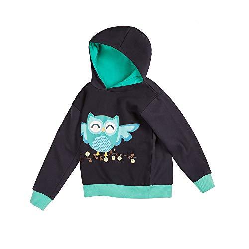 felix & mina Kinderpullover mit Kontrastfarben und einem Aufdruck mit Einer im Dunkeln leuchtenden Eule, 100% Baumwolle (128/134)