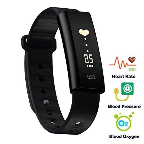 Fitness Tracker, Hizek Smartband Bluetooth 4.0 IP67 Impermeabile Monitoraggio della Frequenza Cardiaca Tracker Intelligente Bracciale Activity Tracker Pedometro Bluetooth per Android 4.3 / iOS 8.0 o successive