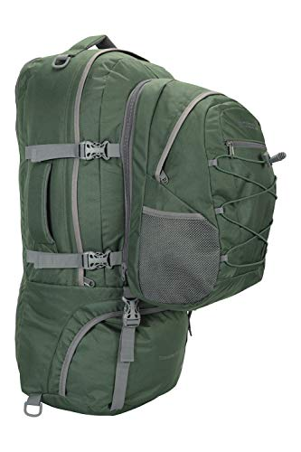 Mountain Warehouse Traveller 60 + 20L Rucksack - Durable Backpack with Rain Cover, Detachable Daypack, Adjustable Back Support - Great for Camping, Hiking, Travelling Green