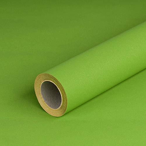Geschenkpapier Grün, einfarbig, Recyclingpapier, glatt, 80 g/m², Geburtstagspapier - 1 Rolle 0,70 x 10 m