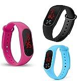 Titox Silicone Slim Digital LED Black, Red Dial Boy's and Girl's Bracelet B