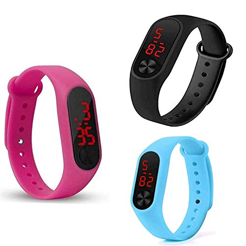 Titox Silicone Slim Digital LED Black, Red Dial Boy's and Girl's Bracelet Band Watch -Combo Set of 3(Random Color)
