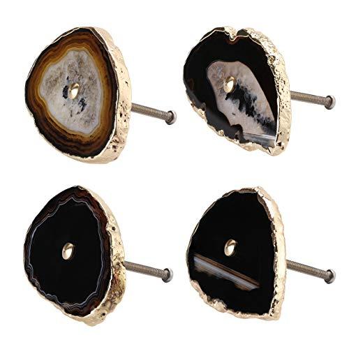 WarmHut Set of 4 Agate Knobs Handmade Vintage Knobs with Golden Electroplated Edges - Natural Agate Drawer Pulls Decorative Cabinet Cupboard Dresser Handles, Black