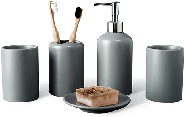 In a San Antonio Mall popularity CJSWT Bathroom Set Soap Accessorie Grey Toothbrush Dispenser