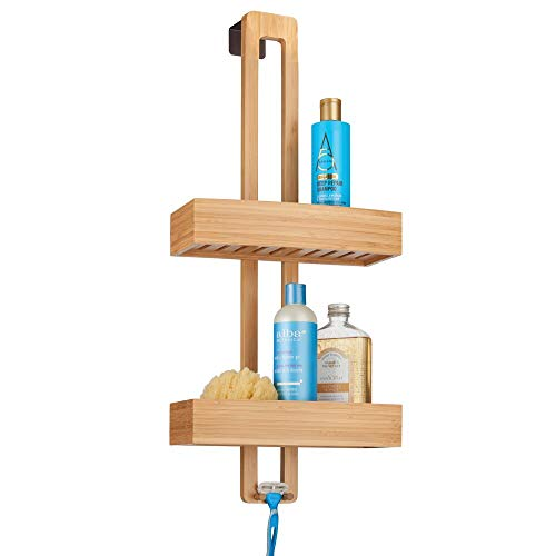 mDesign Modern Bamboo Wood Over The Shower Door Bathroom Caddy, Hanging Storage Organizer Center with Baskets on 2 Levels for Bathroom Shower Stalls, Bathtubs - Natural Wood Finish