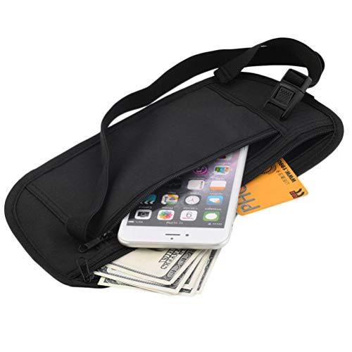BSTQC Riñonera de viaje escondida para pasaporte, dinero, cintura, delgada, secreta de seguridad, bolsa de viaje