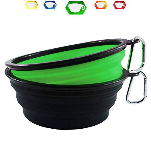Himi 34OZ Silicone Collapsible Travel Dog Bowl - Set of 2 Large Size 1000ML - Portable Pet Bowl Food&Water - Premium Quality Travel Pet Bowl Solution (Green-Black)