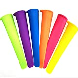 Molde de paleta de silicona para paquetes de 6 paquetes de cocina - Grado alimenticio, sin BPA - Prepare alimentos saludables para sus niños Congelación de hielo helado (paquete de 6, colorido)