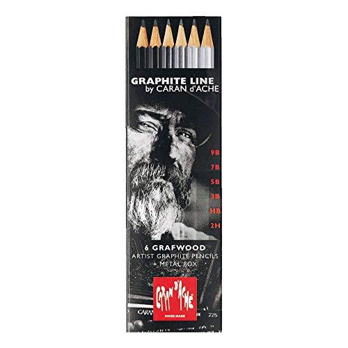 Caran d'Ache 0775.306 Artist Graphite Line Grafwood - Matite con 6 gradazioni di durezza