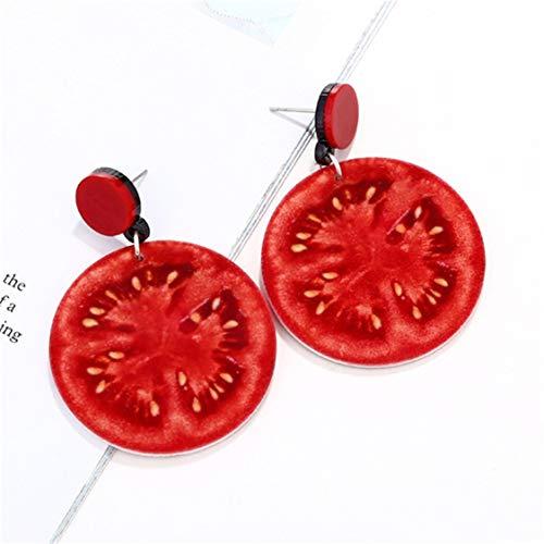 Idiytip Funny Fruits Dangle Drop Earrings Creative Fruits Stud Earrings Gifts for Girls Women,tomato