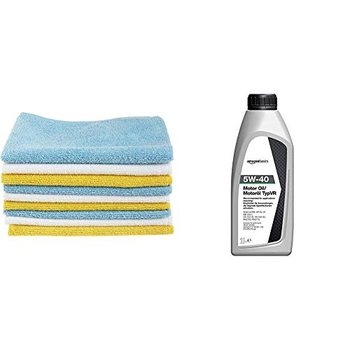 AmazonBasics Microfibre Cleaning Cloths Pack of 12 & Motor Oil 5W-40 TypVR, 1L