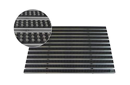 EMCO Eingangsmatte DIPLOMAT 22mm Bürsten grau Fußmatte Schmutzfangmatte Fußabtreter Antirutschmatte, Größe:590 x 390 mm