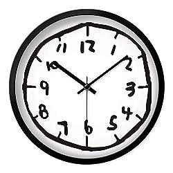 Kids Wall Clock Digital Wall Clocks Mute Bedroom Graffiti for Living Room Watch,Black,12 Inch