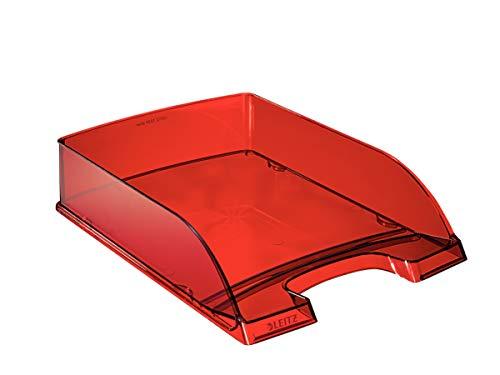 Leitz 52260028 Transparent Plus - Cajonera organizadora, fabricada en poliestireno, A4, 5 unidades, color rojo