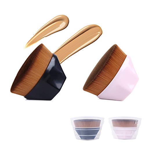 Sorliva - Set di 2 pennelli piatti per fondotinta liquido ad alta densità con bacchetta BB Cream in polvere, set nero e rosa