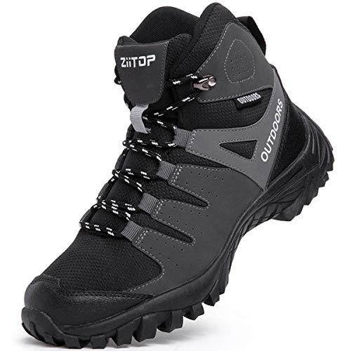 ziitop Men's Hiking Boots Breathable Leather Trekking Shoes for Outdoors Walking, High-Traction Grip Black, 9.5