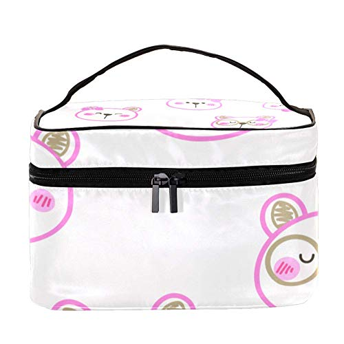TIZORAX Shy Bubbies in Pink Bow Cosmetic Bag Travel Toiletry Case Large Makeup Organizer Box