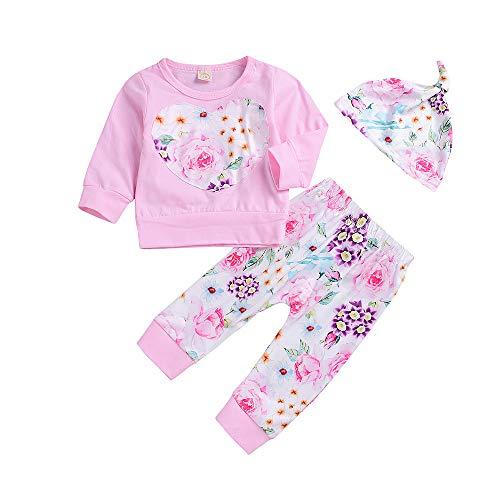 Hirolan Babykleidung Neugeborenes Kleinkind 6-24 Monate Baby Jungen Mädchen Kleidung Floral Lange Ärmel T-Shirt Tops + Hosen + Hut 3PCS Outfits Bekleidungssets (Rosa, 70)