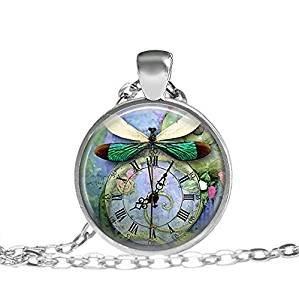 Preisvergleich Produktbild Steampunk-Libellen-Halskette,  Vintage-Schmuck,  grüne Steampunk-Garten-Halskette