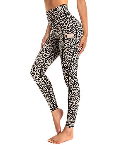 OUGES Damen Sport Leggings High Waist Leggins Yogahose Blickdichte Sporthose mit Taschen (Leopard,M)