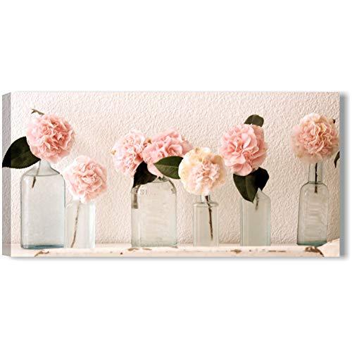 Quadri L&C ITALIA Rose Vintage 1 - Quadro Moderno Fiori Shabby Chic per Soggiorno Camera da Letto Cucina Bagno 90 x 45 Stampa su Tela da Parete - Bianchi Rosa
