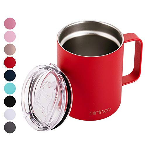 Stainless Steel Insulated Coffee Mug Cup with Handle,12OZ Double Wall Vacuum Travel Coffee Tumbler Mug with Lid Red