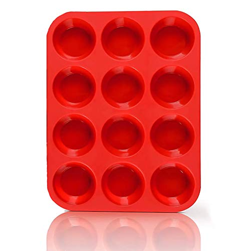 Non-Sticky Silicone Muffin Pan—Muffin Molder for Muffins and Cupcakes—Cupcake silicone molder—Baking Accessory—12 X Muffin Molders (12 Hole-Red-New-1 PCS)