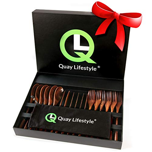 Quay Lifestyle Bamboo Cutlery Set For 6 - Enjoy Quiet Meal Times - Premium Quality - Reusable Wooden Knives Forks And Spoons - Eco Friendly Sustainable - Helps Sufferers Of Misophonia And Hyperacusis