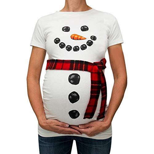 Camiseta de Las Mujeres Embarazadas Fotografia SHOBDW Blusa De Manga Corta De Verano Muñeco De Nieve Navideño Embarazo De Maternidad Tops Camisa Casual Talla Grande S-XXXL(Blanco,L)