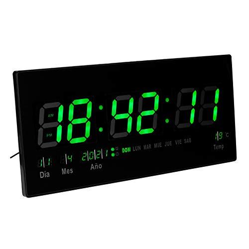 JEVX Reloj Digital de Pared Grande para Colgar, Alarma, Iluminacion en Color Verde, Calendario, Medidor de Temperatura, Fuente de Alimentacion, Termometro