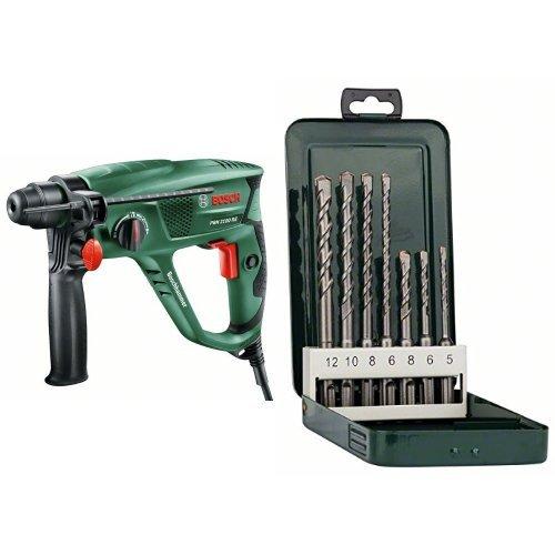 Bosch PBH 2100 RE - Martillo perforador + SDS-plus S2 - Juego de bs de martillos perforadores SDS-plus de 7 piezas