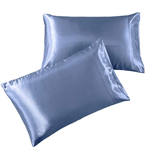 """Pure Bedding Satin Pillowcase 2 Pack - King Size (20""""x40"""", SkyBlue) - Silky Pillow Cases for Hair and Skin - Satin Pillow Covers with Envelope Closure - Extra Soft Premium Microfiber"""