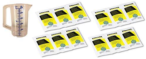 KÄRCHER 12x 17g Entkalkerpulver für Dampfreiniger, Wasserkocher und Kaffeemaschinen - Entkalkersticks in Pulverform 6.295-206.0 6.295-047.0 2x6.295-987.0 inkl. Messbecher 0,5l (12 x 17g Päckchen)