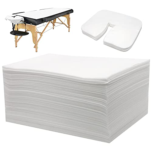 """Eqivei 100pcs Disposable Massage Table Sheets Sets - 50pcs 71"""" x 31"""" Spa Bed Sheets and 50pcs 14"""" x 9"""" Face Cradle Covers for Massage Table-White Non-Woven Fabric"""