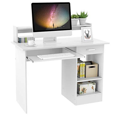 Yaheetech Mesa Escritorio Blanco con Soporte de Monitor para Oficina Despacho Mesa de Ordenador de Madera Mesa de Estudio con Cajón Estantes 106 x 50 x 75 cm