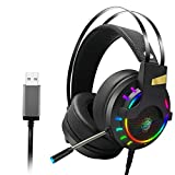 HEHE Gaming Headset Auriculares con Cable USB LED Juego De...