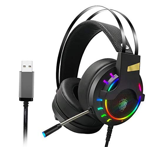 HEHE Gaming Headset Auriculares con Cable USB LED Juego De Auriculares con El Mic para PC Portátil PS4 Xbox Una Computadora