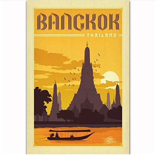 Imagen de cartel Bangkok Tailandia Vintage viaje paisaje turismo cubierta carteles impresiones en lienzo pared arte decoración70x90cm sin marco