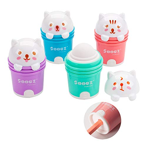Sooez 4-Pack Cute Cartoon Cat Manual Pencil Sharpener and Eraser, for Standard Pencils, Compact Size Plastic Metal Handheld Sharpener for Adults & Students, as Ideal Gift, Pink Green Purple Blue