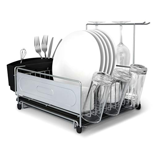MNOPQ Multifunctional Rust Proof Kitchen Sink Counter Dish Drying Rack, Dish Racks Includes Wire Dish Drying Rack, Utensil Holder, Drainboard, Stemware Holder, and Non-Slip Cup Holders