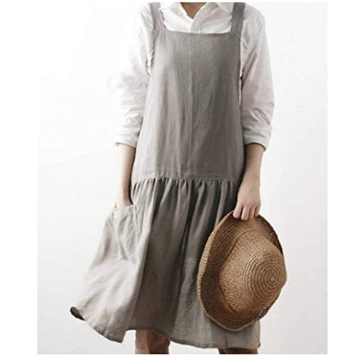 AOBBYBBS Cotton Pinafore Apron Halter Cross Tie Bandage Solid Color Korea Style Simple Aprons (Lightkhaki,Double Pockets)
