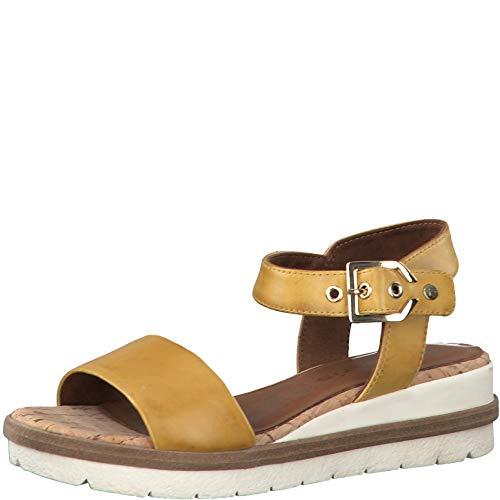 Tamaris Femme Sandales 28222-24, Dame Sandales compensées, Sandales compensées,Chaussures d'été,Confortable,Plat,Sun,37 EU / 4 UK